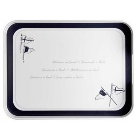 "Plateau rectangulaire avec pourtour bleu marine - "" WELCOME ON BOARD"""