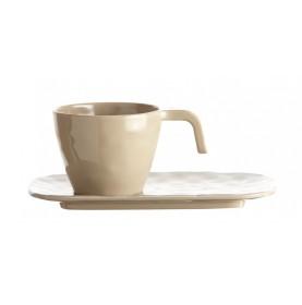 """Service de 6 tasses + sous-tasses couleur sable - """" HARMONY """""""