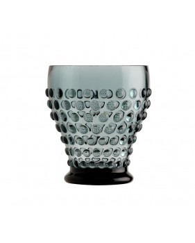 6 verres à eau gris foncé avec pastilles en relief