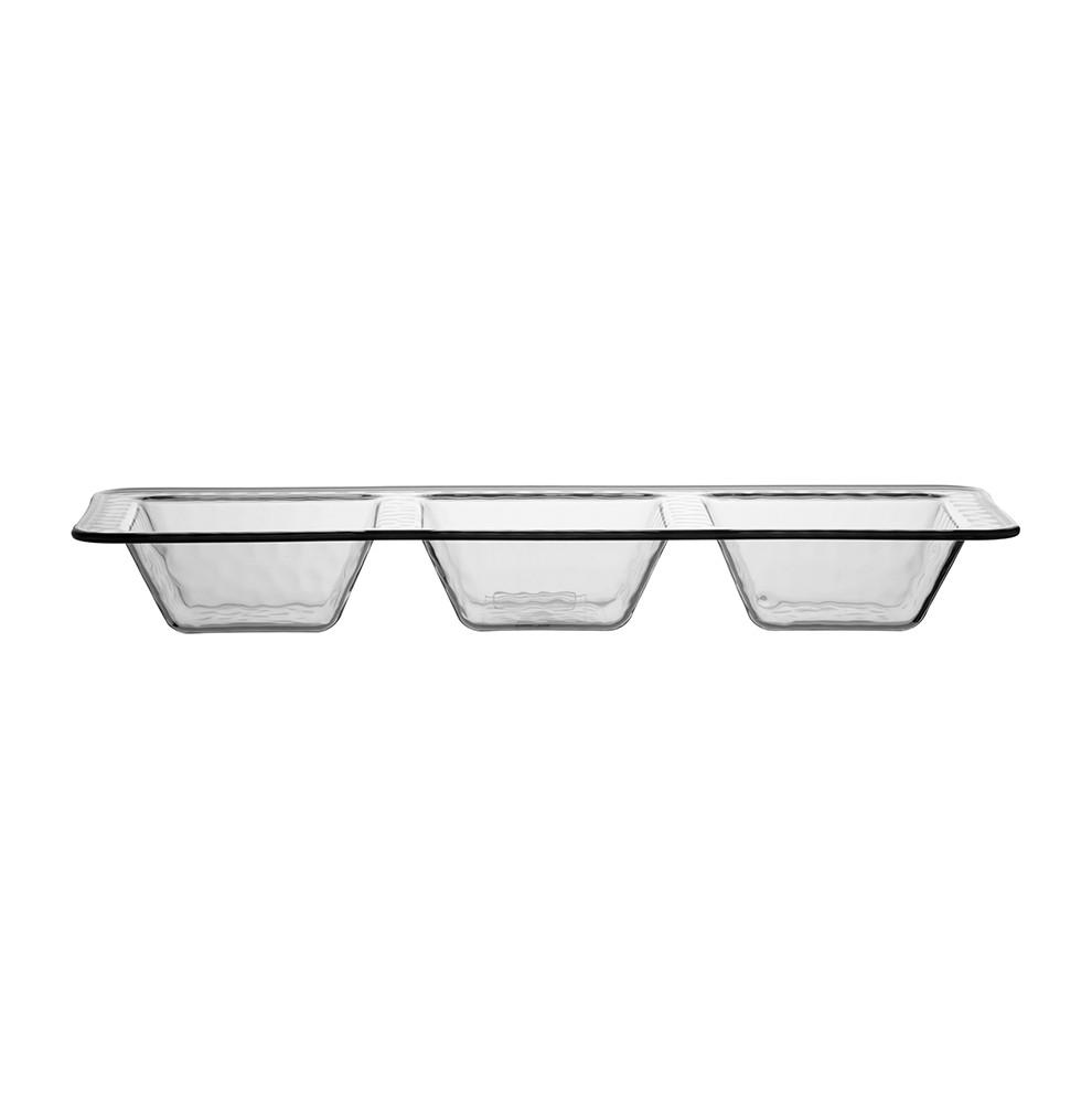 Set de 2 plats pour apéritifs transparent gris clair