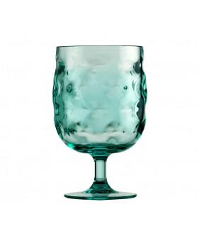 Ensemble de 6 verres à pied transparents turquoise