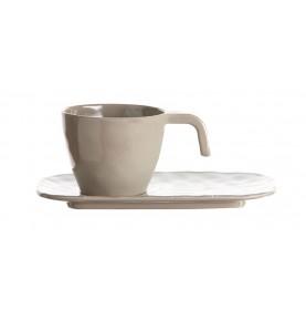 Service de 6 tasses et sous-tasses beiges