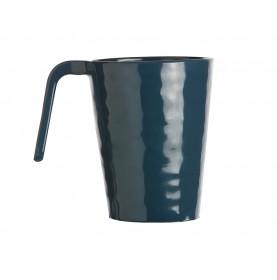 6 mugs bleu nuit en mélamine martelé hauteur 10.5 cm