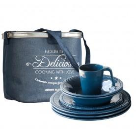 Service vaisselle bleu nuit à bordure perlée pour 6 personnes