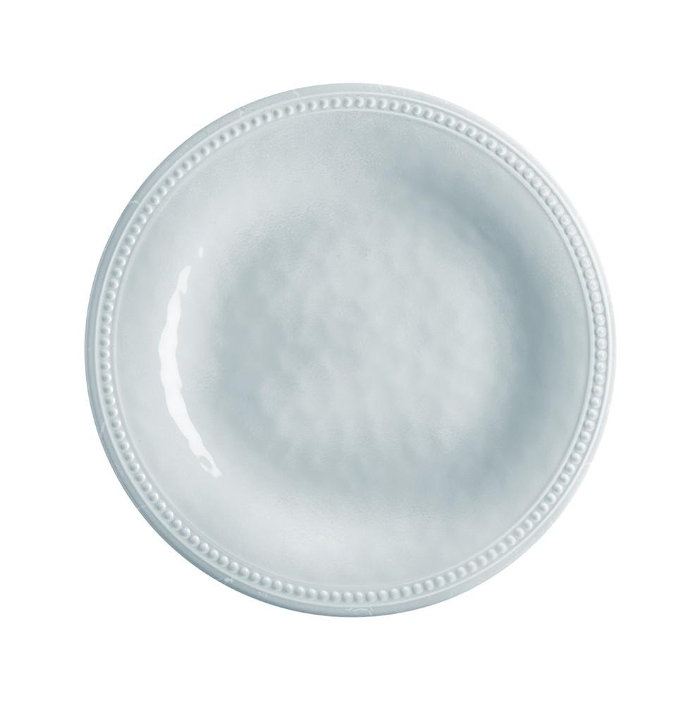 6 assiettes grises en mélamine au contour perlé Ø 27 cm
