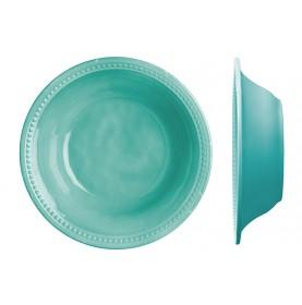 Assiette creuse mélamine turquoise au contour perlé