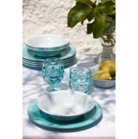 """Service de 6 assiettes creuses turquoise au contour perlé - """"HARMONY"""""""