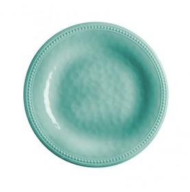 assiettes à dessert turquoise en mélamine martelée et contour perlé