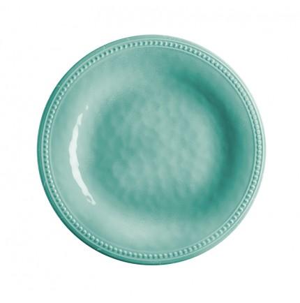 assiette à dessert turquoise en mélamine et contour perlé