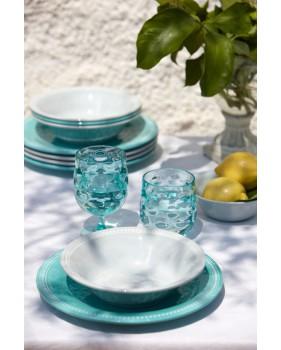 """Service de 6 assiettes plates turquoise au contour perlé - """"HARMONY"""""""