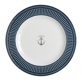 Assiettes plates bleutées en mélamine motif ancre