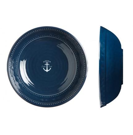 Assiettes creuses bleues marine motif ancre