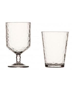 Service de verres à eau et à vin effet martelé pour bateau