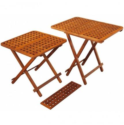 Table pliante modulable en teck avec plateau en caillebotis