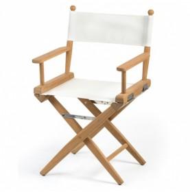 chaise régisseur teck et coussins blancs