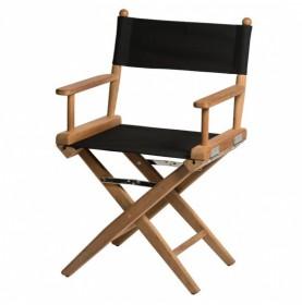Chaise régisseur classique en teck avec assise noire