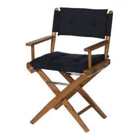 chaise régisseur en teck avec coussins bleu marine