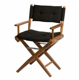 chaise luxe en teck avec assise noire metteur en scene