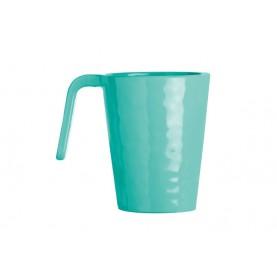 6 mugs bleu turquoise effet martelé
