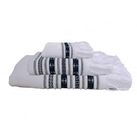 Serviettes de bain blanches à rayures bleues et franges