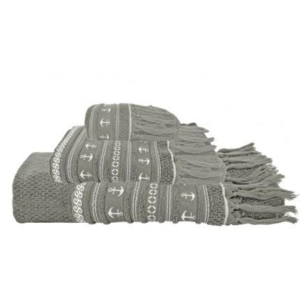 Serviettes de bain taupe à rayures et franges
