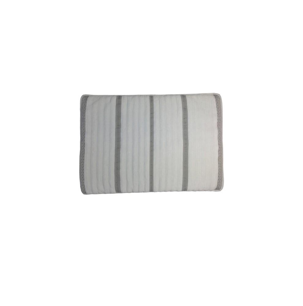 Tapis de bain en éponge antidérapant blanc rayures grises