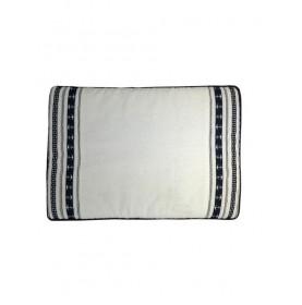 Tapis de bain en éponge antidérapant blanc et bleu