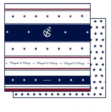 Parure de lit marine double 140 - rouge, bleue et blanche