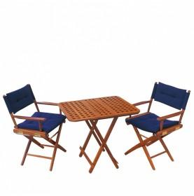 Table pliante modulable en teck sur plateau en caillebotis