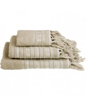3 serviettes de bain beiges avec des franges