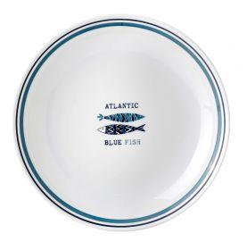 Assiette creuse avec cercle antidérapant motif sardines Ø 21cm