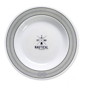 Assiette creuse avec cercle antidérapant motif nautique