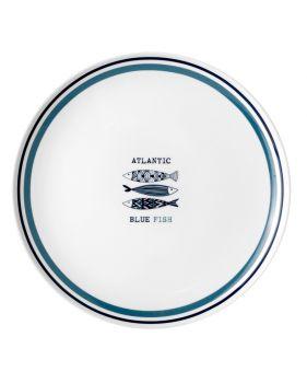 Assiette en mélamine antidérapante motif sardines Ø 25cm