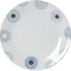 Assiette plate Ø 25cm en mélamine antidérapante à motif florale