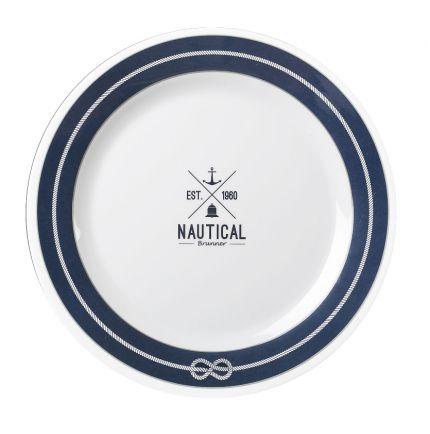 Assiette antidérapante Ø 26cm en mélamine à motif nautique
