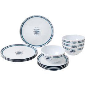 Pack vaisselle en mélamine motif sardines / 12 pièces