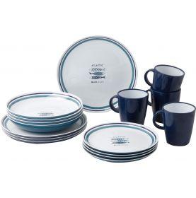 Pack vaisselle en mélamine motif sardines - 16 pièces