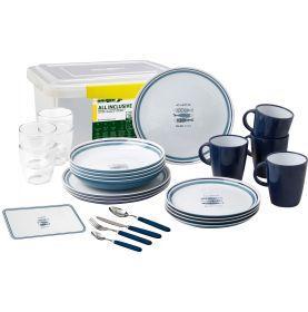 Pack vaisselle en mélamine motif sardines - 36 pièces