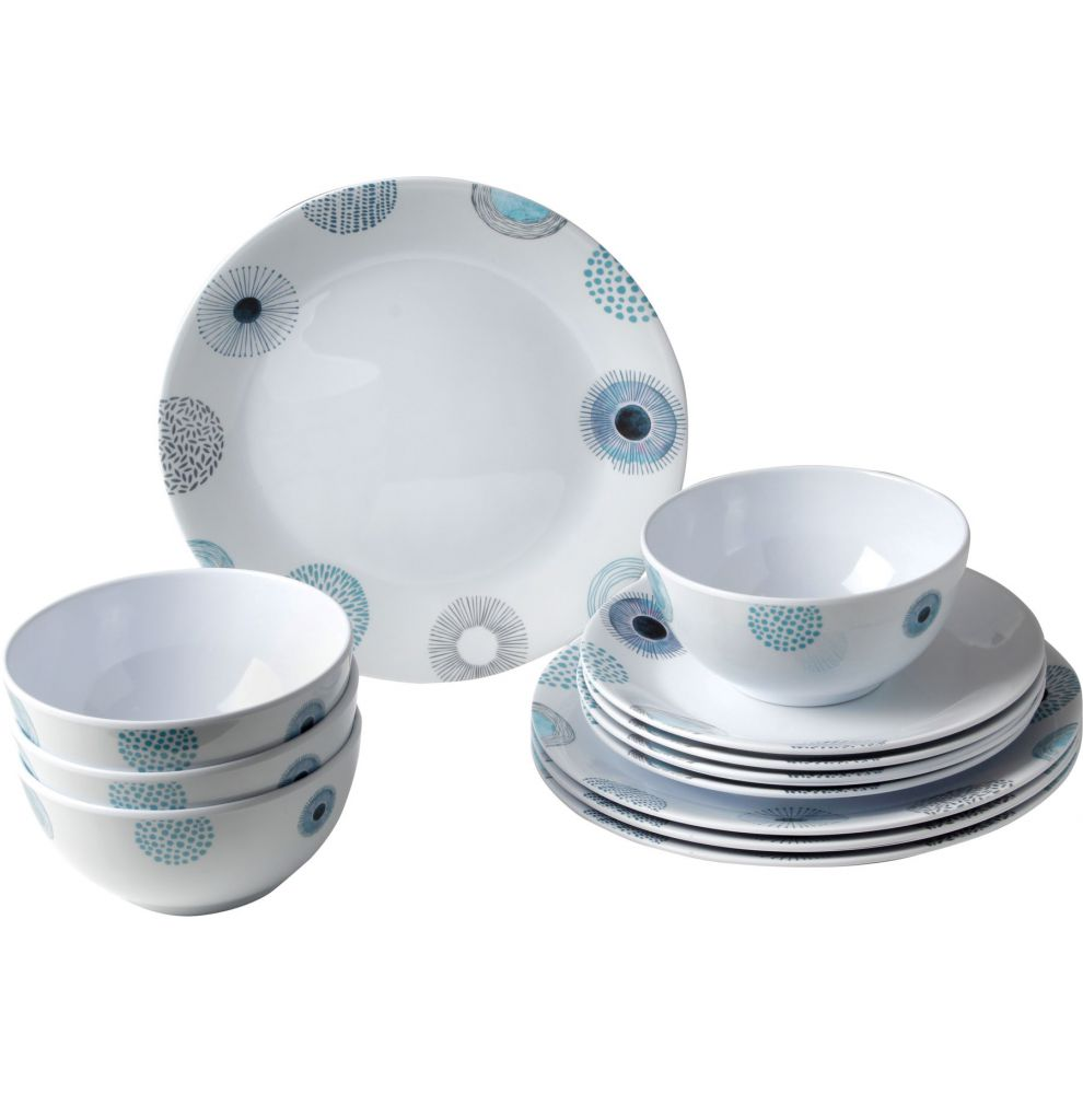 Pack vaisselle en mélamine motifs floraux bleus - 12 pièces