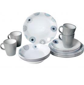 Pack vaisselle en mélamine à motif floral - 16 pièces