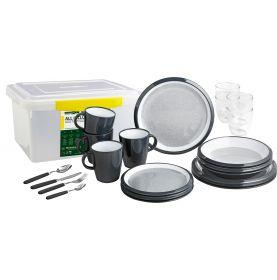 Pack vaisselle en mélamine anthracite et blanc 36 pièces