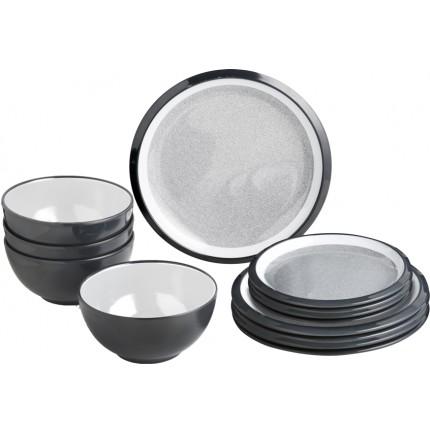 Pack vaisselle en mélamine anthracite et blanc