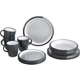 Pack vaisselle en mélamine anthracite et blanc 16 pièces