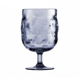 6 verres à pieds en mélamine bleue effet ondulé