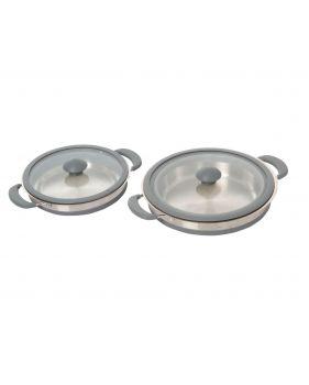 Casserole rétractable en silicone et inox 20 et 24 cm