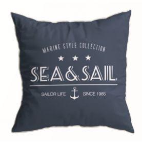 2 coussins 40x40cm bleus marine à inscriptions nautiques