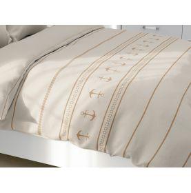 Dessus de lit léger écru motifs ancres 1 personne