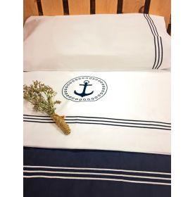 Parure drap de lit et taies d'oreillers blanches