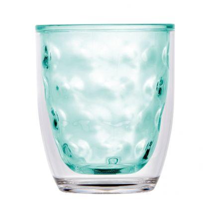 verre isotherme en mélamine turquoise à reliefs