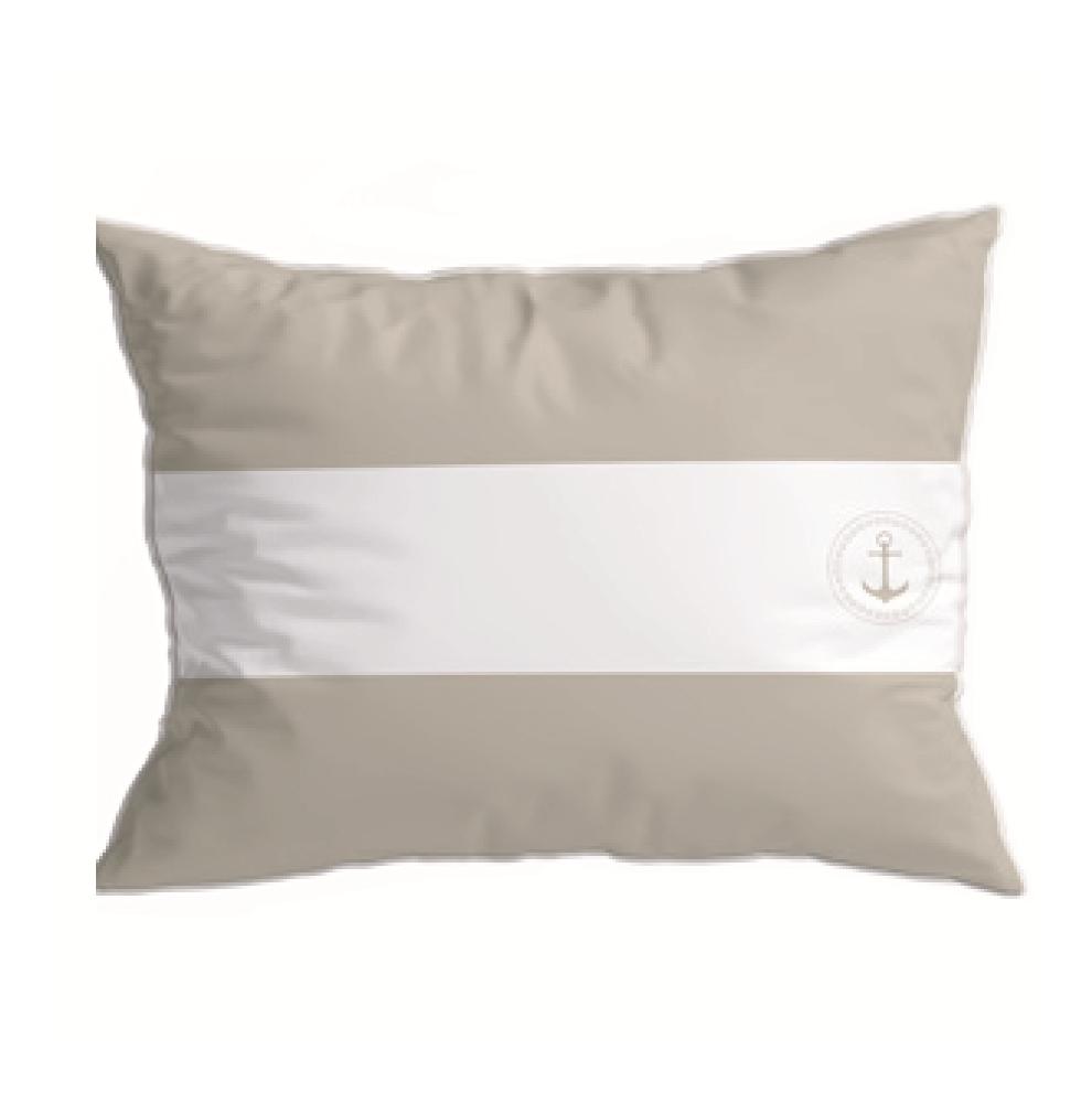 coussin rectangulaire imperméable rayés blancs et beige
